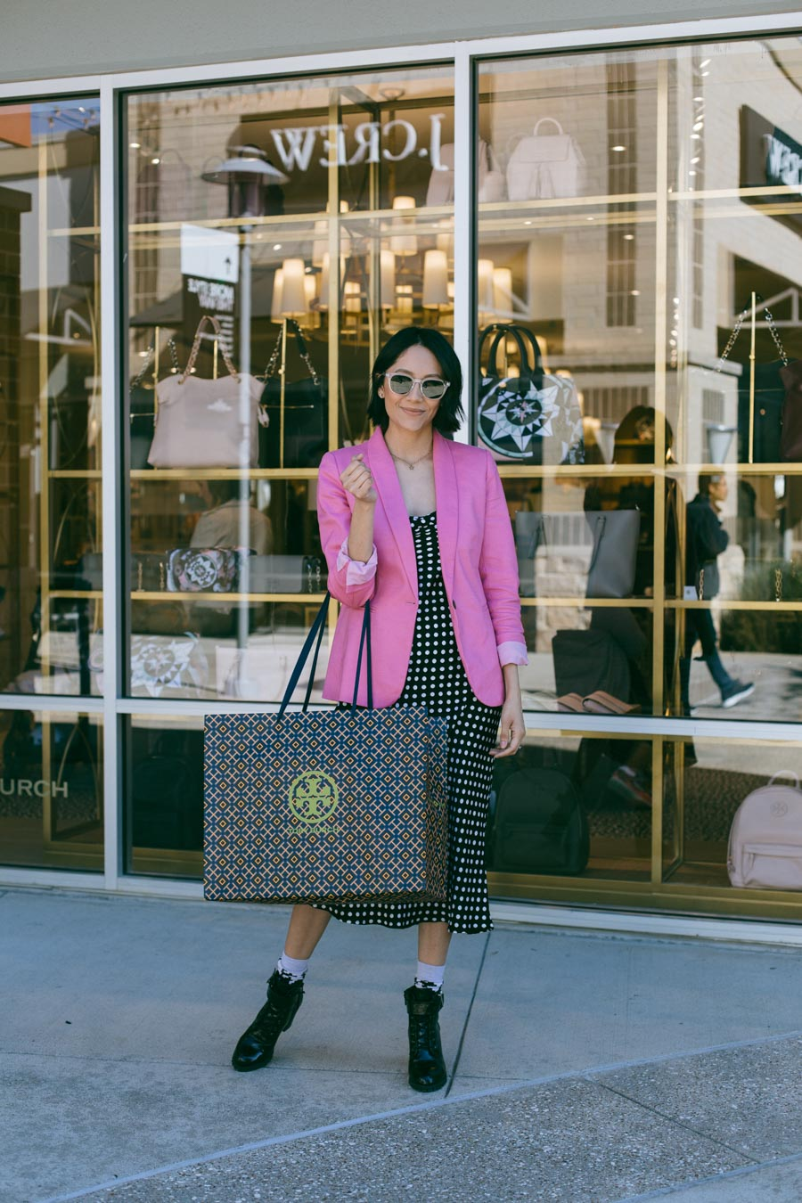 Houston blogger Lilly Beltran shops at the Tory Burch outlet store.