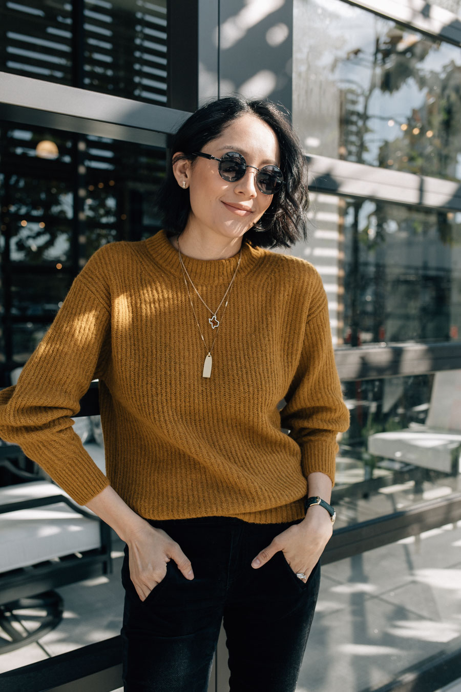 Lilly Beltran of Daily Craving Blog wearing an Everlane Oversized Alpaca Crew
