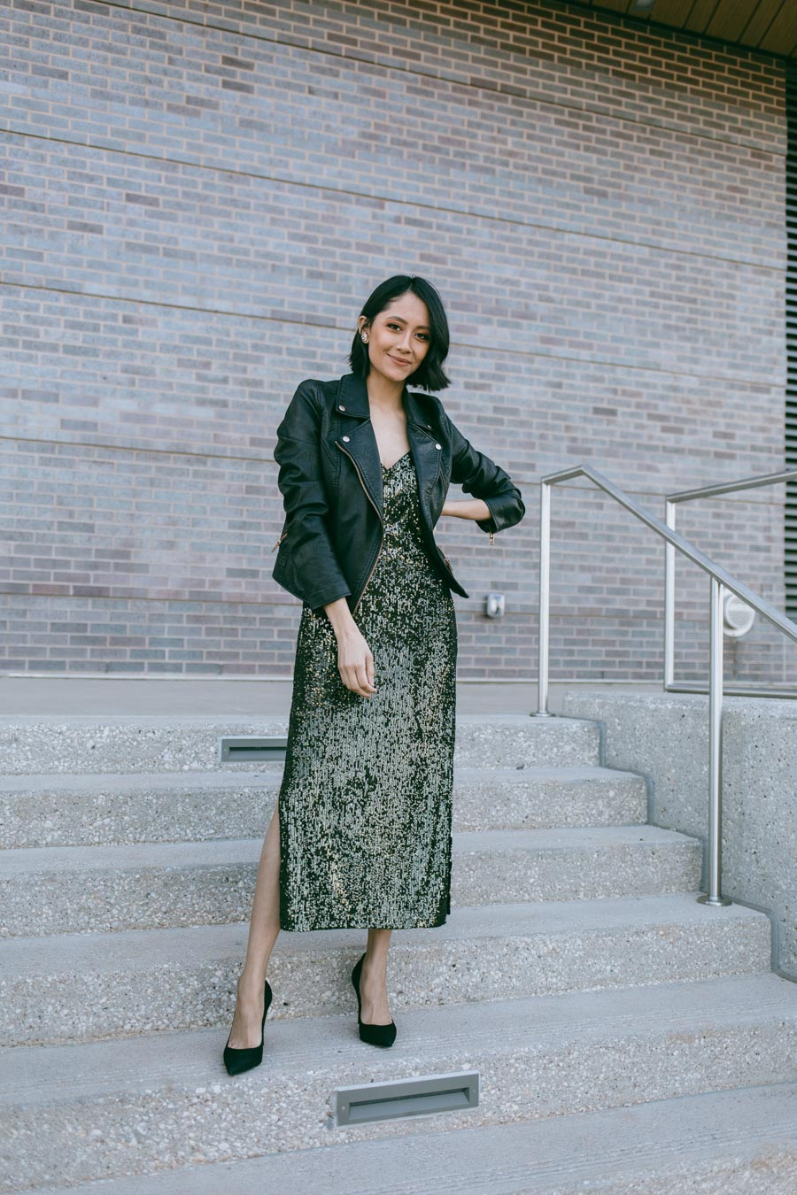 Style blogger Lilly Beltran wearing a Topshop sequin holiday dress.