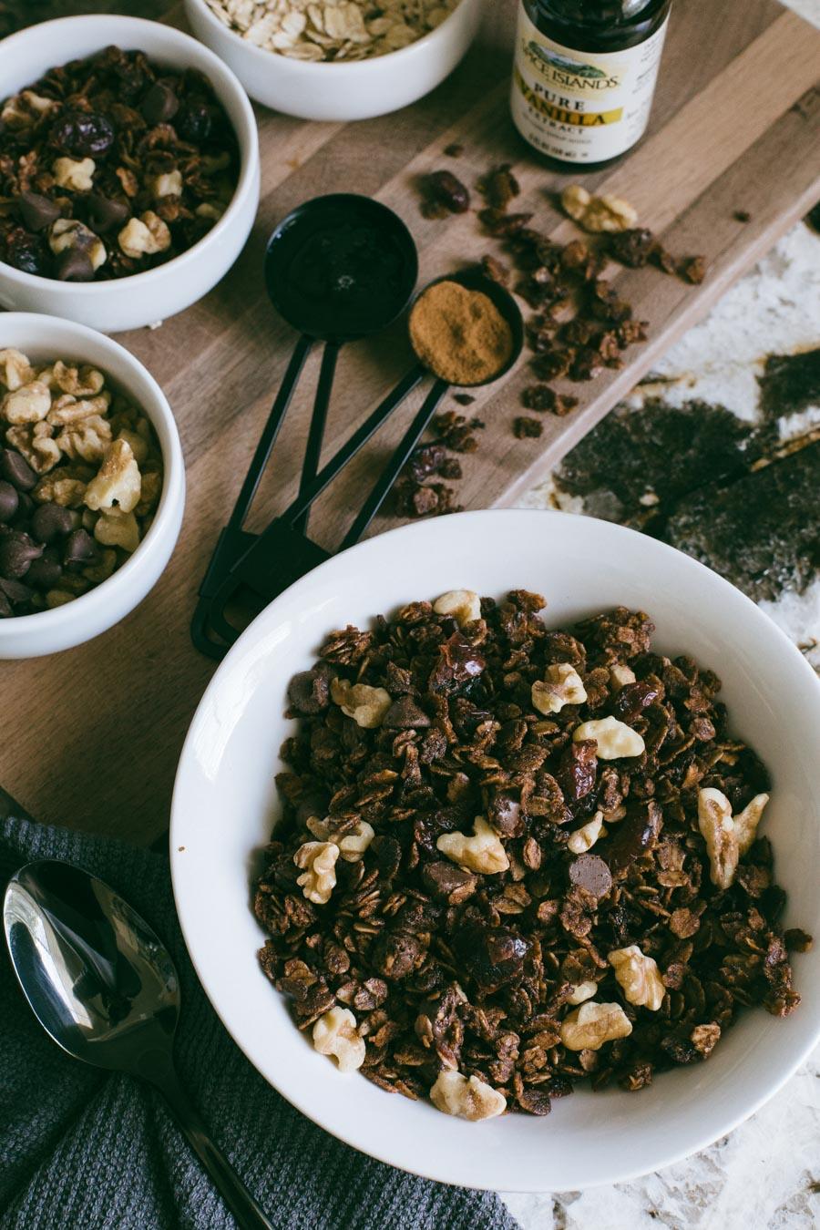 Homemade chocolate cranberry walnut granola.