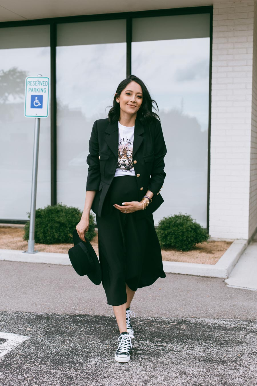Lilly Beltran from Daily Craving blog wearing a slip dress, graphic tee & black blazer | Pregnancy style